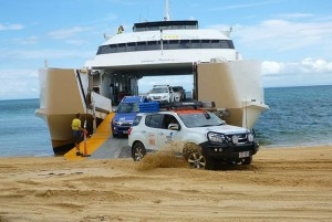4wd arrival onto beach from ferry 2